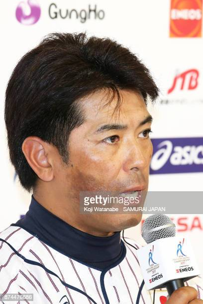 Heard coach Atsunori Inaba of Japan attend the official press conference ahead of the Eneos Asia Professional Baseball Championship at Tokyo Dome on...