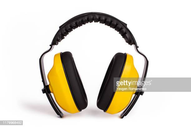 hearing protection yellow ear muffs, personal protective equipment, safety equipment isolated on white background - safety equipment stock pictures, royalty-free photos & images