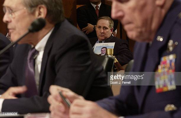 HEARINGBruce DeCell of Staten Island whose soninlaw Mark Petrocelli died in the attack on the World Trade Center looks on as Defense Secretary Donald...