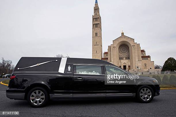 A hearse arrives with the casket of late Supreme Court justice Antonin Scalia at the Basilica of the National Shrine of the Immaculate Conception...
