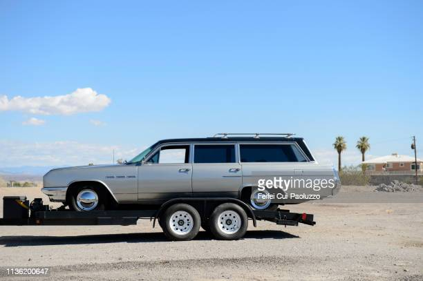 a hearse at a parking at needles, usa - hearse stock pictures, royalty-free photos & images