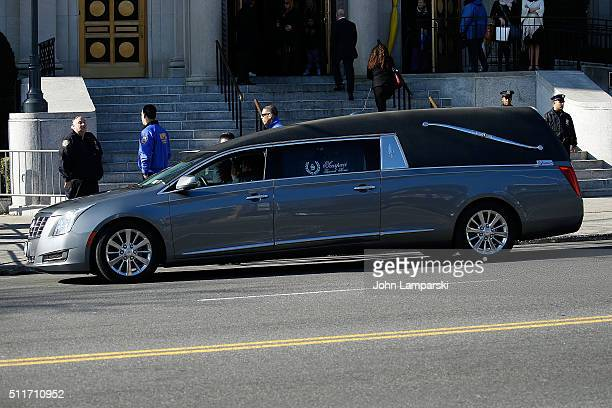 Hearse carrying the body of Angela Big Ang Raiola is seen during the Funeral Service held for Angela Big Ang Raiola on February 21 2016 in New York...