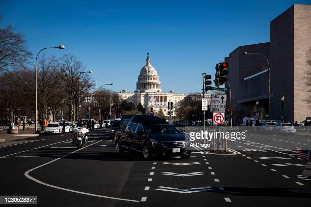 Hearse carrying the casket of Brian Sicknick, U.S. Capitol Police Officer who died from injuries following the U.S. Capitol building siege on...