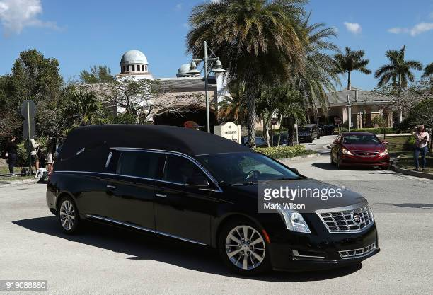 A hearse carrying the remains of 16 yearold student Meadow Pollack pulls out of the Jewish congregation Kol Tikvah after a funeral service on...