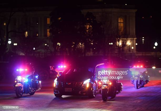 Hearse carrying the urn with the cremated remains of US Capitol Police officer Brian Sicknick arrives at the US Capitol to lie in honor in the...