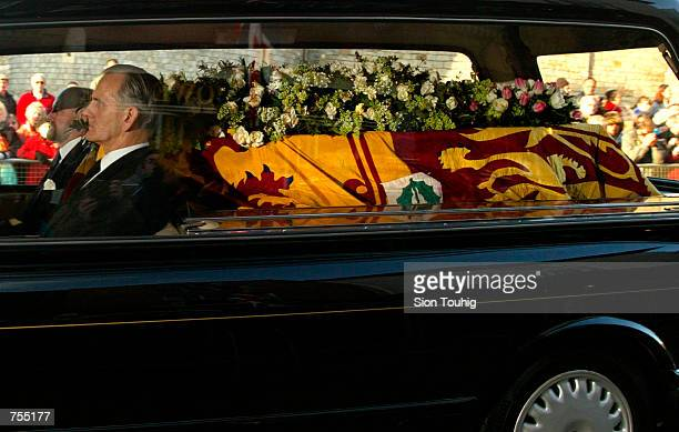 A hearse containing Princess Margaret's coffin leaves St Georges Chapel at Windsor Castle February 15 2002 on the way to Slogh Crematorium The...