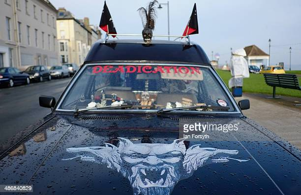 A hearse is parked on the roadside during the Goth weekend on April 26 2014 in Whitby England The Whitby Goth weekend began in 1994 and happens twice...