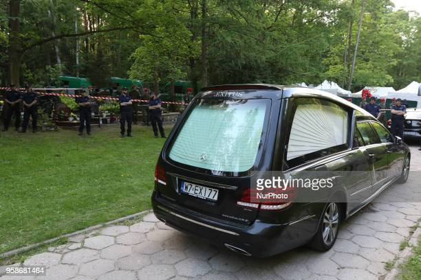 Hearse is seen in Gdansk Poland at the Srebrzysko cemetery on 14 May 2018 The prosecutor's office against the will of the deceased's family exhumed...