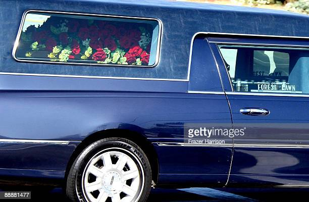 Hearse seen leaving Forest Lawn Memorial Park on July 7, 2009 in Los Angeles, California. Jackson the iconic pop star, died at UCLA Medical Center...