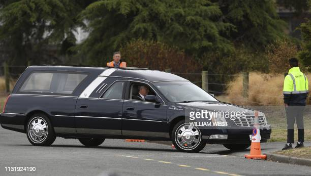 A hearse transports a coffin bearing the mortal remains of Syed Jahandad Ali slain during the New Zealand twin mosque attacks at the Memorial Park...