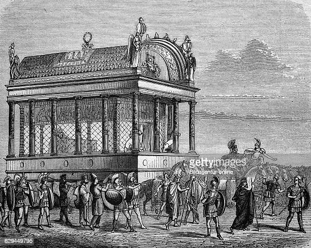 Hearse with the body of alexander the great historical engraving 1888