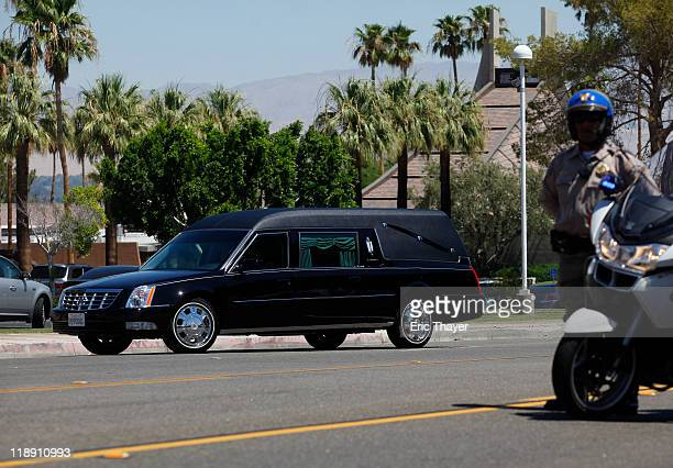 A hearse with the casket carrying the body of former first lady Betty Ford arrives at a National Tribute Service July 12 2011 in Palm Desert...