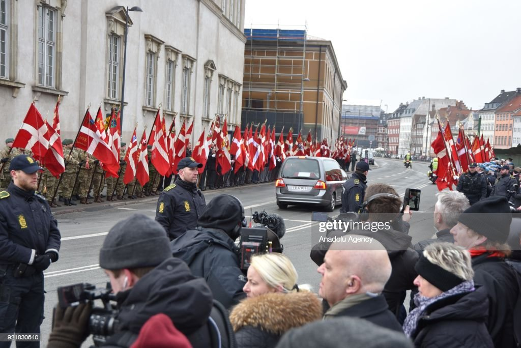 Hearse with the coffin of Prince Henrik, the husband of Queen Margrethe II of Denmark, leaves Christiansborg Palace in Copenhagen, Denmark on February 20, 2018.