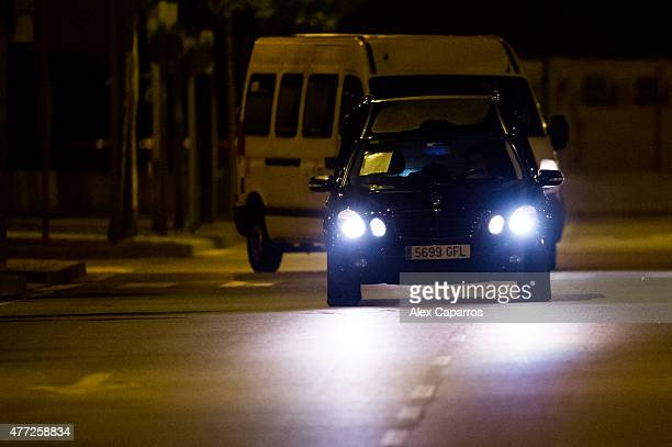 Hearses carrying the remains of 30 Spaniards who died in the March 24 Germanwings plane crash in the French Alps exit the Barcelona Airport on June...