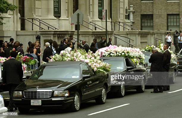 Hearses line the streets at the funeral for singeractress Aaliyah at Saint Ignatius Loyola Roman Catholic Church