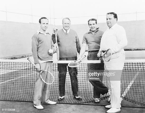 Hearst Foursome A rare photograph showing William Randolph Hearst wellknown publisher with three of his five sons on the tennis courts of the Hearst...