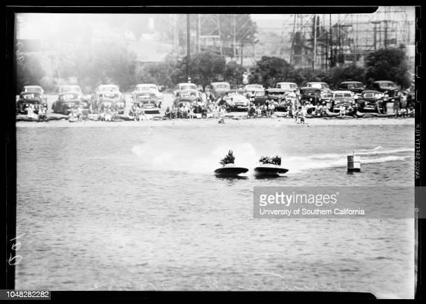 Hearst Regatta 27 July 1952Caption slip reads 'Photographer Jensen Assignment Hearst Regatta Note 5x7 film 100/102 1st and 2nd boats 1st Heat C...