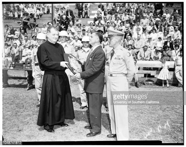 Hearst Rifle Awards at Awards Loyola Catholic High School 18 May 1952 Reverend Francis B Ford SJ [Society of Jesus] President Loyola High SchoolJose...