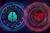 Heart and brain. Digital interface.