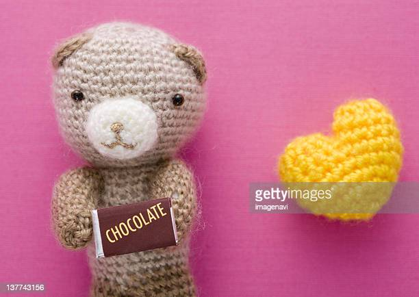 Heart and knitted teddy bear