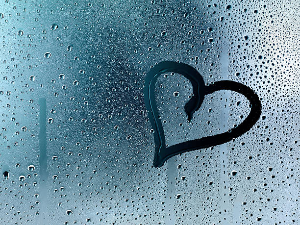 Heart At Window Pane With Raindrops Wall Art