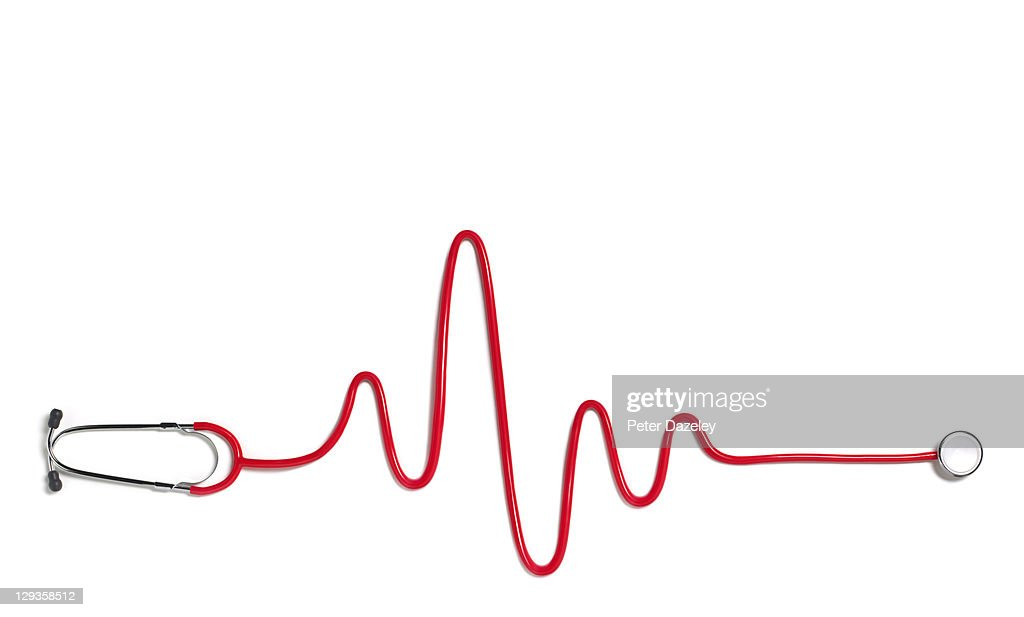 Heart beat with red stethoscope : Stock Photo