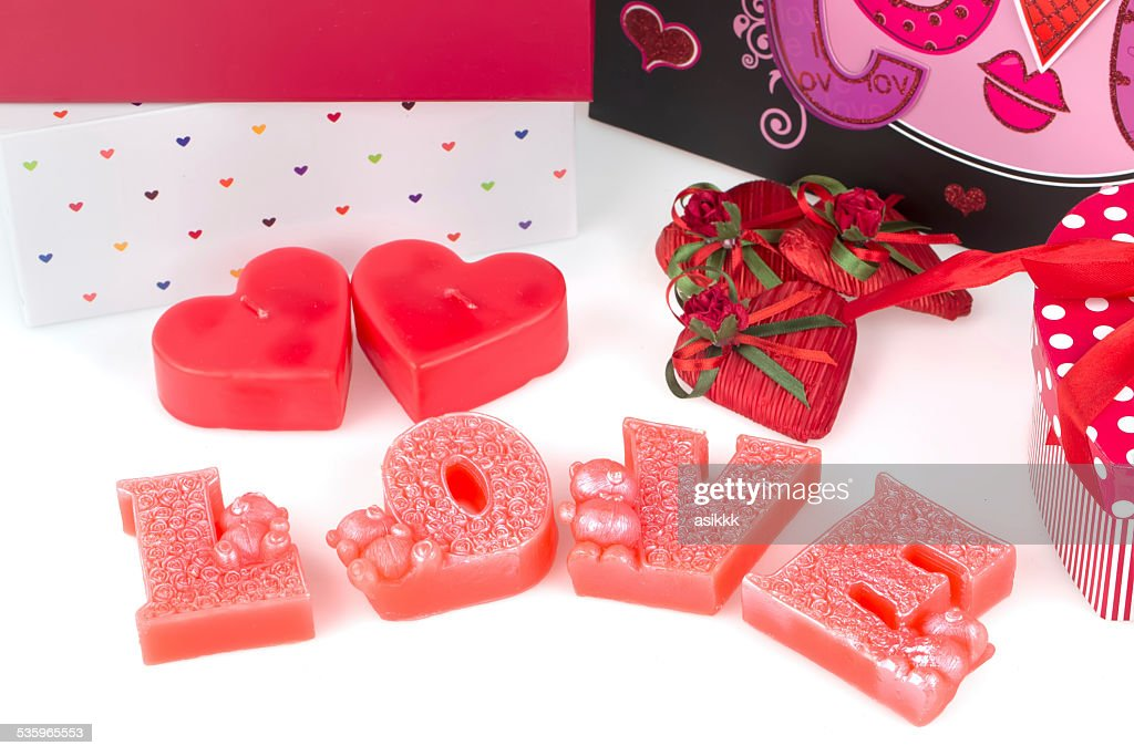 heart, candle,love and chocolate heart : Stock Photo
