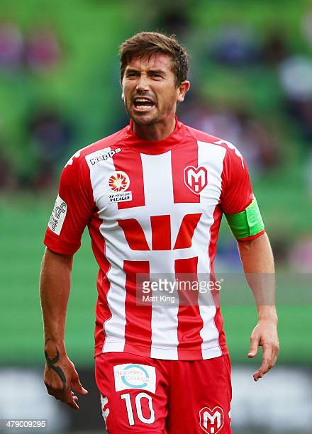 Heart captain Harry Kewell reacts after a referees decision during the round 23 ALeague match between Melbourne Heart and the Wellington Phoenix at...