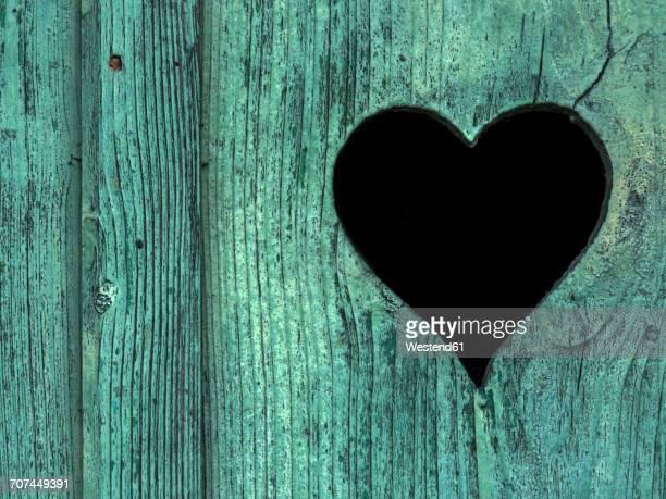 Heart cut in a toilet door