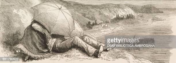 Heart disease is better than sunstroke gallant scene under an umbrella a picnic on the Bosphorus Turkey illustration from the magazine The Graphic...