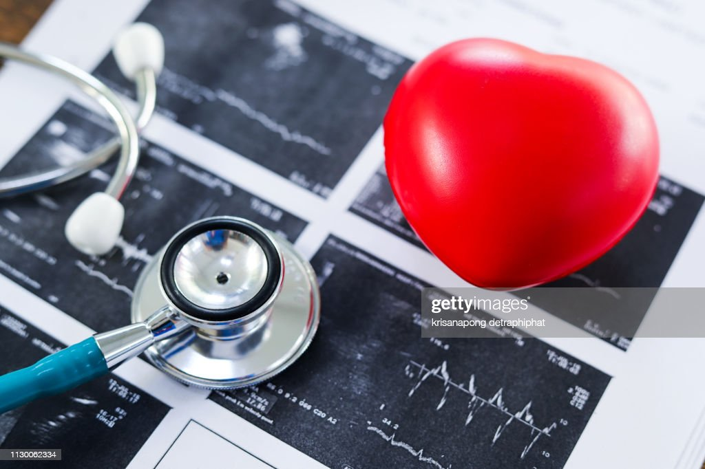 heart disease,Stethoscope and heart,diagnose : Stock Photo