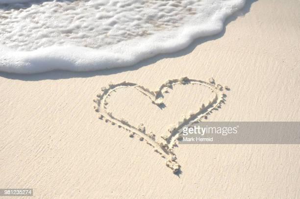 Heart Drawn in Sand on Beach