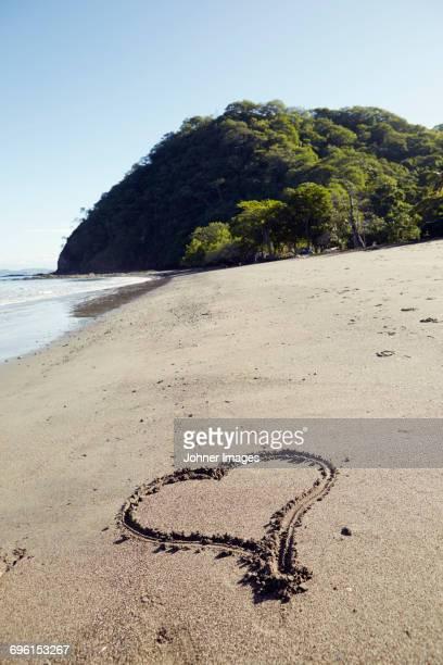 Heart drawn on beach