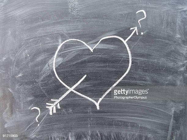 Heart drawn on blackboard