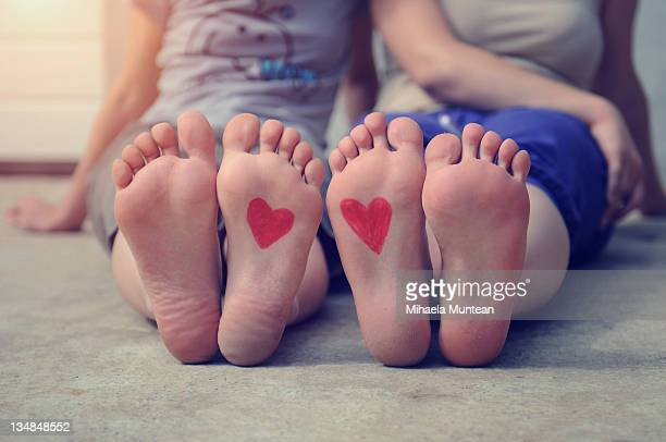 Heart drawn on feet