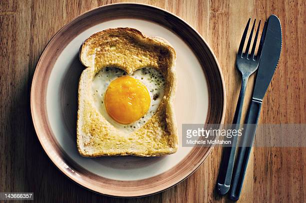 Heart egg on toast