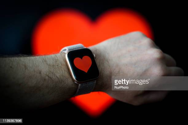Heart graphic is seen displayed on an Apple Watch in this photo illustration in Warsaw, Poland on April 25, 2019.