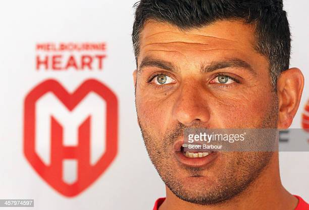 Heart head coach John Aloisi speaks to the media during a Melbourne Heart ALeague training session at AAMI Park on December 20 2013 in Melbourne...