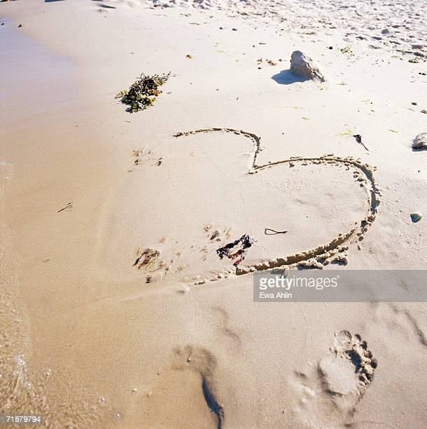 A heart imprinted in sand.
