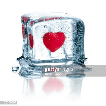 Heart In Ice Cube Water Frozen Love Valentines Day Stock Photo