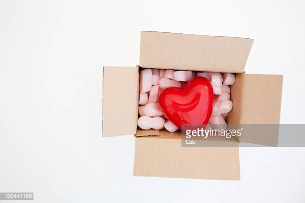 Heart inside box with pink packing
