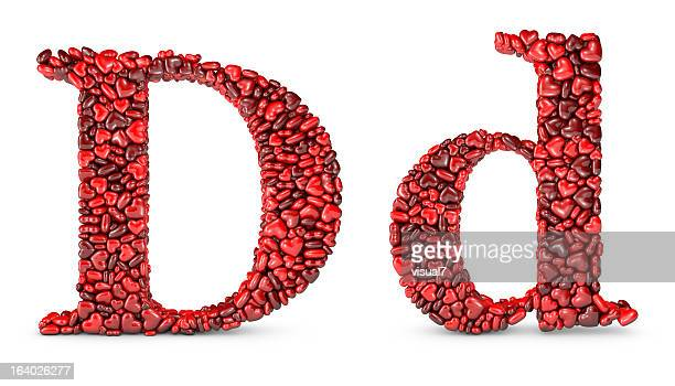heart letter d - letter d stock pictures, royalty-free photos & images