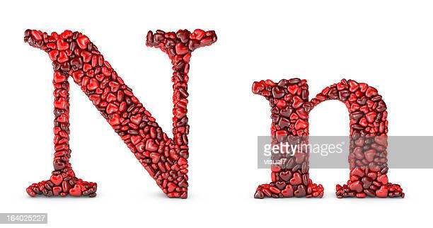heart letter n - letter n stock pictures, royalty-free photos & images