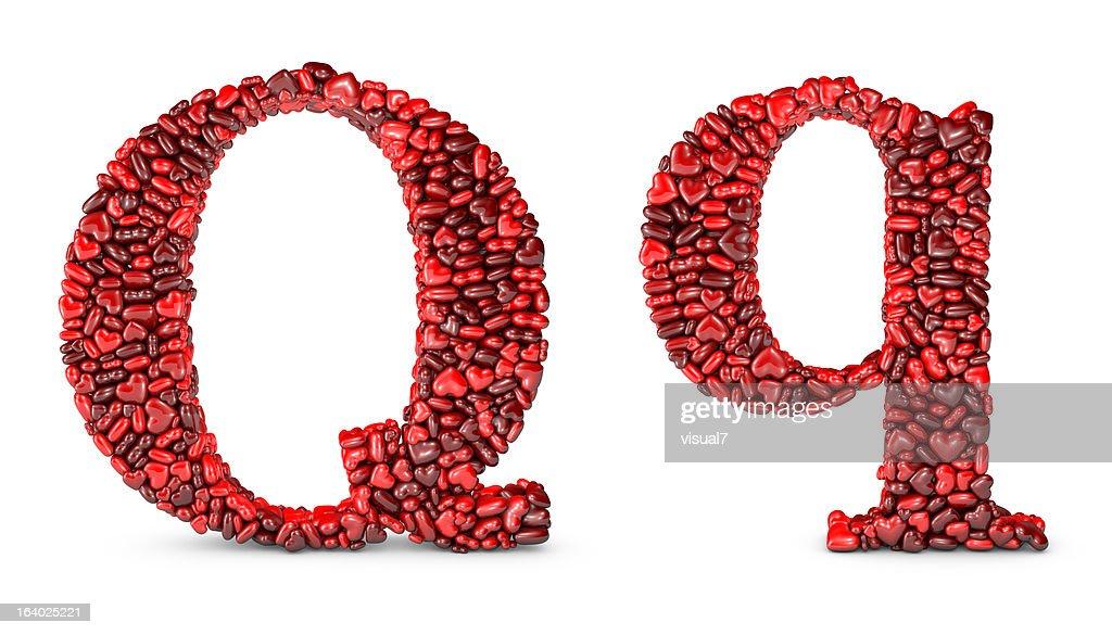 Herz Buchstabe Q : Stock-Foto