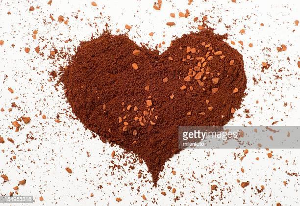 Heart made of ground coffee