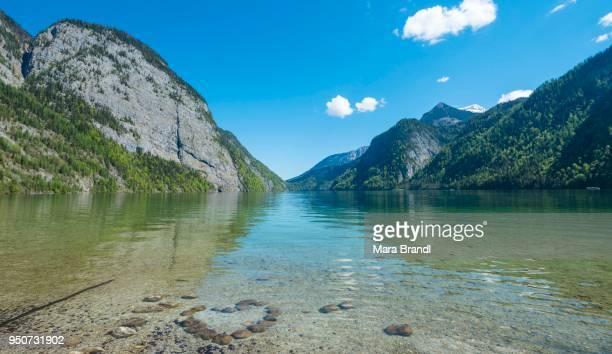 Heart made of stones in water, view across Lake Koenigssee, Berchtesgaden National Park, Berchtesgaden District, Upper Bavaria, Bavaria, Germany