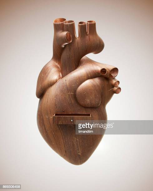 Heart made of wood with a drawer