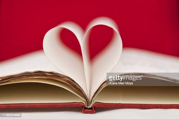 heart made with the leaves of a book - literature photos et images de collection