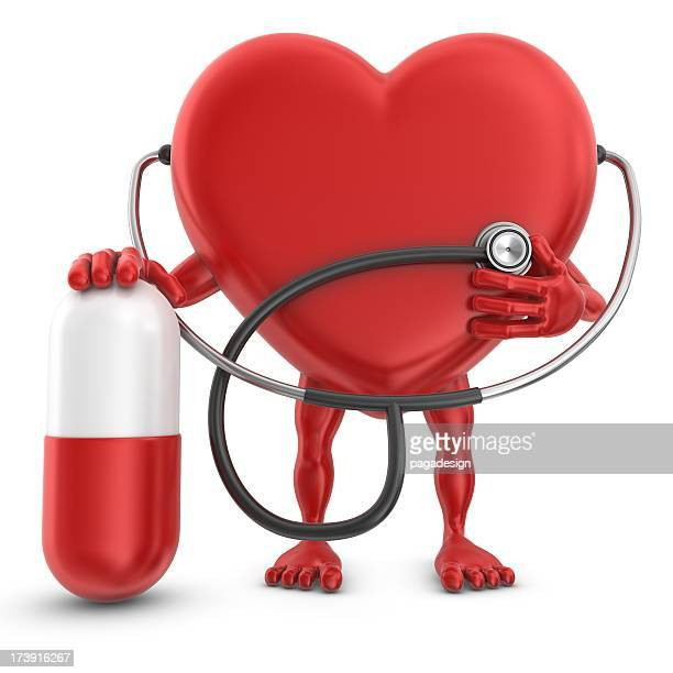 heart man with stethoscope and pill