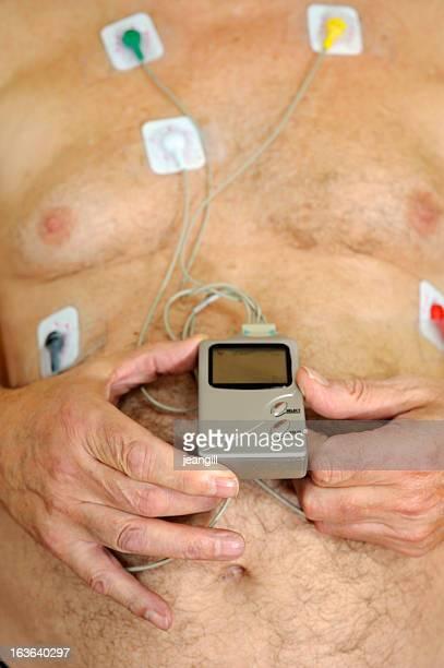 Heart monitor on senior chest